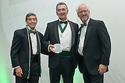 From Left, Larry Starr, John P. Gainor Jr. and Ron Teplitzky pose after Gainor was awarded the Medal of Merit during the 2016 Alumni Awards Gala at Ohio University's Baker Center Ballroom on Friday, October 07, 2016.