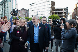 © Licensed to London News Pictures . 05/05/2017. Manchester, UK.  REBECCA LONG-BAILEY , Labour Party Leader JEREMY CORBYN and ANDREW GWYNNE arrive in Manchester following Andy Burnham's victory in the Manchester Metro mayoralty campaign , for a Momentum Rally on the steps of the Manchester Convention Centre . Andy Burnham did not attend . Photo credit: Joel Goodman/LNP