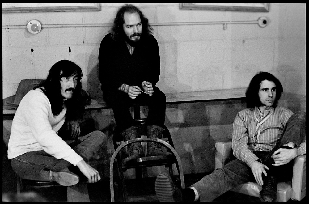 Fall River, Massachusetts - 18 February 1968. (Left to right) Jimmy Carl Black, Ray Collins, and Ian Underwood of the Mothers of Invention backstage prior to a performance. © 2020 Ed Lefkowicz<br />
