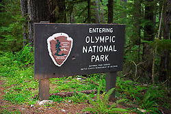 National Park Service welcome sign for Olympic National Park, Washington, United States of America