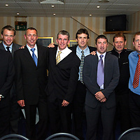 Jim Weir Testimonial...11.04.05<br />Ex Saintees from left, Allan Preston, Alan Kernaghan, Kevin McGowne, Jim Weir, Leigh Jenkinson, Paul Kane, Billy Kirkwood and Roddy Grant.<br /><br />Picture by Graeme Hart.<br />Copyright Perthshire Picture Agency<br />Tel: 01738 623350  Mobile: 07990 594431