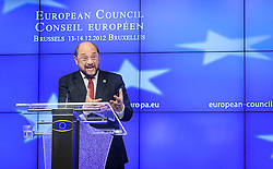 Martin Schulz, president of the European Parliament, speaks during his ritual news conference, following his meeting with EU leaders on the first day of the EU Summit, at the European Council headquarters in Brussels, Belgium on Thursday, Dec. 13, 2012. (Photo © Jock Fistick)