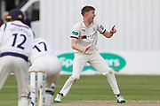 James Logan of Yorkshire appeals unsuccessfully for the wicket of Rob Yates of Warwickshire  during the Specsavers County Champ Div 1 match between Yorkshire County Cricket Club and Warwickshire County Cricket Club at York Cricket Club, York, United Kingdom on 18 June 2019.