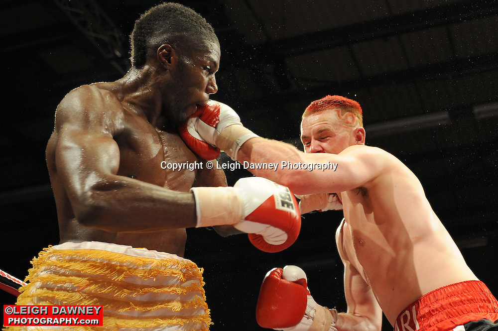 Menay Edwards (yellow shorts) v Hari Miles at Gorsebrook Leisure Centre Dagenham on 14th May 2010. Frank Maloney Promotions. Photo credit: © Leigh Dawney