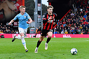David Brooks (20) of AFC Bournemouth on the attack with Oleksandr Zinchenko (35) of Manchester City chasing during the Premier League match between Bournemouth and Manchester City at the Vitality Stadium, Bournemouth, England on 2 March 2019.