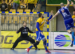 Canellas Reixach Joan of MOL Pick Zseged vs Beciri Kristian of RK Celje Pivovarna Lasko and Ferlin Klemen of RK Celje Pivovarna Lasko during VELUX EHF Champions League handball match between RK Celje Pivovarna Lasko vs MOL Pick Szegad on the February 10. 2019, Celje, Slovenia. Photo by Matic Ritonja / Sportida