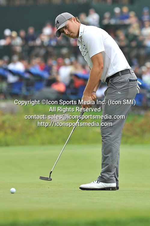 02 September 2013:Jordan Spieth sinks this Eagle putt on the 18th green to finish his round -9 on the day during the Final Round of the Deutsche Bank Championship at TPC Boston in Norton, MA***Editorial Use Only*****