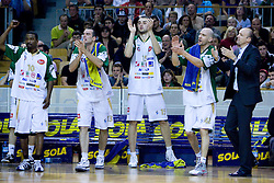 Lorinza Harrington, Jasmin Hukic, Mirza Begic, Marko Maravic and Jure Zdovc at third finals basketball match of Slovenian Men UPC League between KK Union Olimpija and KK Helios Domzale, on June 2, 2009, in Arena Tivoli, Ljubljana, Slovenia. Union Olimpija won 69:58 and became Slovenian National Champion for the season 2008/2009. (Photo by Vid Ponikvar / Sportida)
