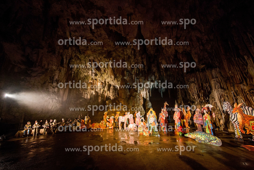 Young musicians perform during the Living Nativity Scenes inside Postojna Cave, on December 21, 2017 in Postojna, Slovenia. Living Nativity Scene is staged along a 5 km long path through the world-famous Postojna Cave in Slovenia with some 200 people performing and working. Photo by Vid Ponikvar / Sportida