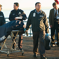 The cast from NCIS Los Angeles record an episode at the Santa Monica Pier on Tuesday, November 2, 2010.