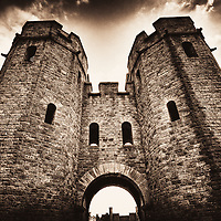 Dramatic shot of Cardiff Castle gates