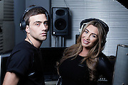 Lauren Goodger who sings on her latest single (to be released in around 6 weeks) &amp; producer Harry James aka Fugitive on a photoshoot in Essex to promote the new single<br />  on March 27 2014.