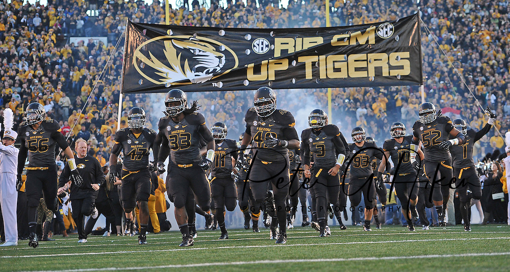 The Missouri Tigers run onto the field before a game against the South Carolina Gamecocks at Faurot Field/Memorial Stadium in Columbia, Missouri.