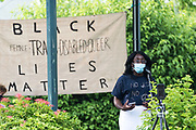Bar Harbor, Maine. July 19, 2020. Amara Ifeji speaks at the MDI Racial Justice Coalition rally.