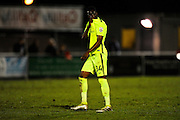 Adriano Moke (34) of York City kisses the York City badge on his shirt in front of the travelling fans at full time in the Vanarama National League match between Eastleigh and York City at Arena Stadium, Eastleigh, United Kingdom on 12 November 2016. Photo by Graham Hunt.