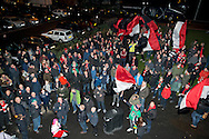 Many FC United of Manchester supporters stayed outside the stadium until half time in a protest over the FA's decision to move the fixture to a Monday night, before the FA Cup match at Broadhurst Park, Moston<br /> Picture by Russell Hart/Focus Images Ltd 07791 688 420<br /> 09/11/2015