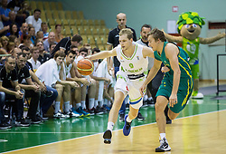 Jaka Blazic of Slovenia vs Ryan Broekhoff of Australia during friendly basketball match between National teams of Slovenia and Australia, on August 3, 2015 in Arena Tri lilije, Lasko, Slovenia. Photo by Vid Ponikvar / Sportida
