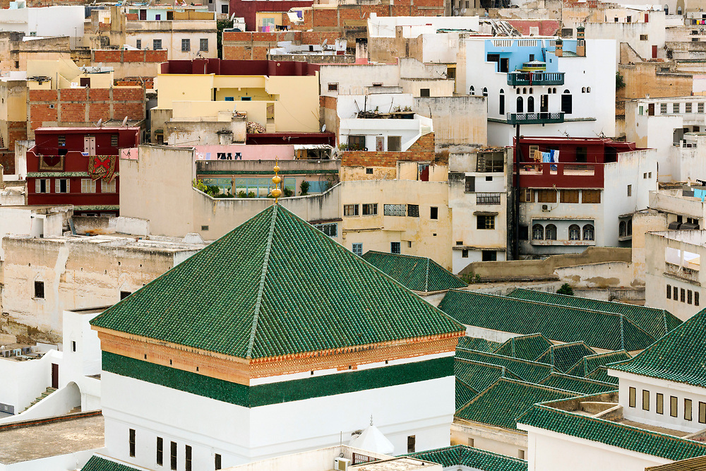 View over the Medina of Moulay Idriss Zerhoun, Middle Atlas, Morocco, 2016-06-22.