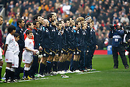 The Scotland team line up for the national anthem during the RBS Six Nations match between England and Scotland at Twickenham Stadium, UK, on the 2nd February 2013. (Photo by Andrew Tobin www.slikimages.com)