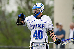 Duke attackman Matt Danowski (40) sets the Duke offense.  The #2 ranked Duke Blue Devils defeated the #3 ranked Virginia Cavaliers 11-9 in the finals of the Men's 2008 Atlantic Coast Conference tournament at the University of Virginia's Klockner Stadium in Charlottesville, VA on April 27, 2008.