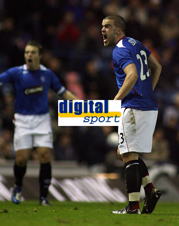 Photo: Paul Thomas.<br /> Glasgow Rangers v Partizan Belgrade. UEFA Cup. 14/12/2006.<br /> <br /> Ranger Filip Sebo isn't too happy with the linesman after being told he was offside.