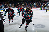 KELOWNA, CANADA - OCTOBER 4: Dillon Dube #19, Erik Gardiner #12, Carsen Twarynski #18, Libor Zabransky #7 and Cal Foote #25 of the Kelowna Rockets skates to the bench to celebrate a goal against the Victoria Royals on October 4, 2017 at Prospera Place in Kelowna, British Columbia, Canada.  (Photo by Marissa Baecker/Shoot the Breeze)  *** Local Caption ***