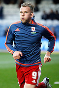 Middlesbrough FC striker Jordan Rhodes (9) during the warm up before the Sky Bet Championship match between Queens Park Rangers and Middlesbrough at the Loftus Road Stadium, London, England on 1 April 2016. Photo by Andy Walter.