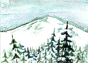 "Winter at Mount Rainier. Mt. Rainier, WA. Watercolor. 12x16"" ©JoAnn Hawkins."