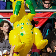 An Australian fan with an inflatable boxing kangaroo during the South Africa V Australia Quarter Final match at the IRB Rugby World Cup tournament. Wellington Regional Stadium, Wellington, New Zealand, 9th October 2011. Photo Tim Clayton...