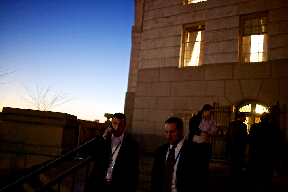 Congressman-elect Markwayne Mullin, from Oklahoma's 2nd District, right, walks with his advisor Trebor Worthen, left, outside of the Longworth House Office Building in Washington, DC on Nov. 29, 2012.