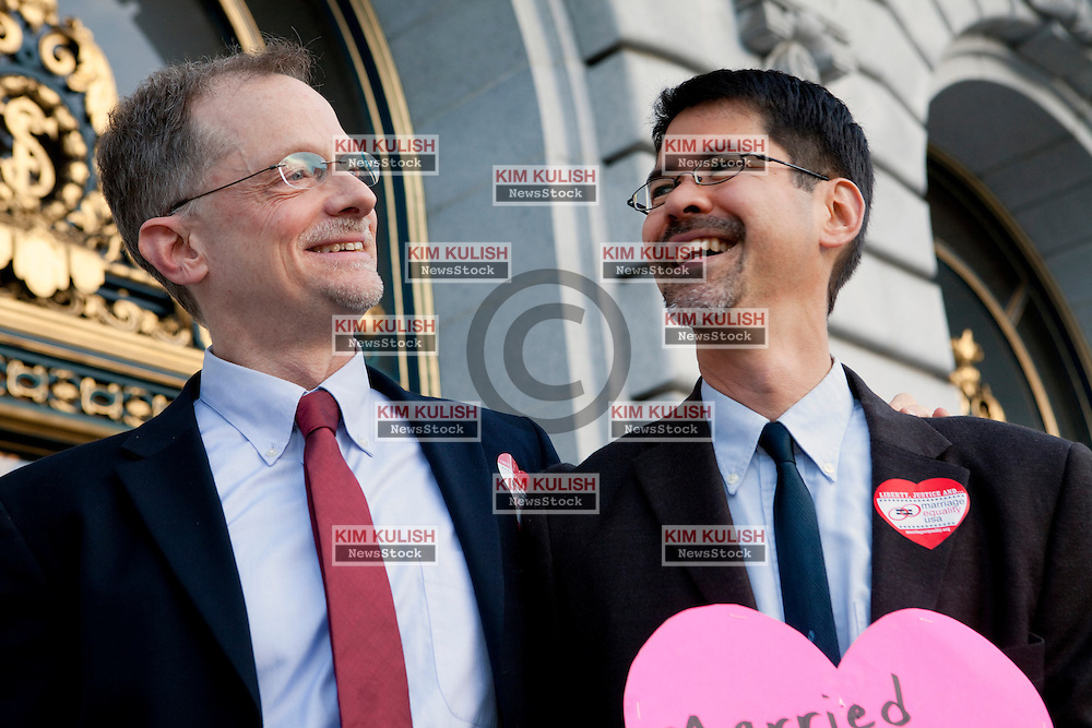 The original plaintiffs in the Proposition 8 case John Lewis and Stuart Gaffney  embrace as they await the rulings of the Supreme Court on the steps of City Hall in San Francisco. The court struck down the Defense of Marriage Act  and ruled that Proposition 8 supporters of California's ban on gay marriage, could not defend it before the Supreme Court.
