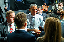 © Licensed to London News Pictures. 23/04/2016. London, UK. President of the United States BARACK OBAMA meeting young people after holding a Q&A session at Lindley Hall, Royal Horticultural Society in central London on Saturday, 23 April 2016. Photo credit: Tolga Akmen/LNP
