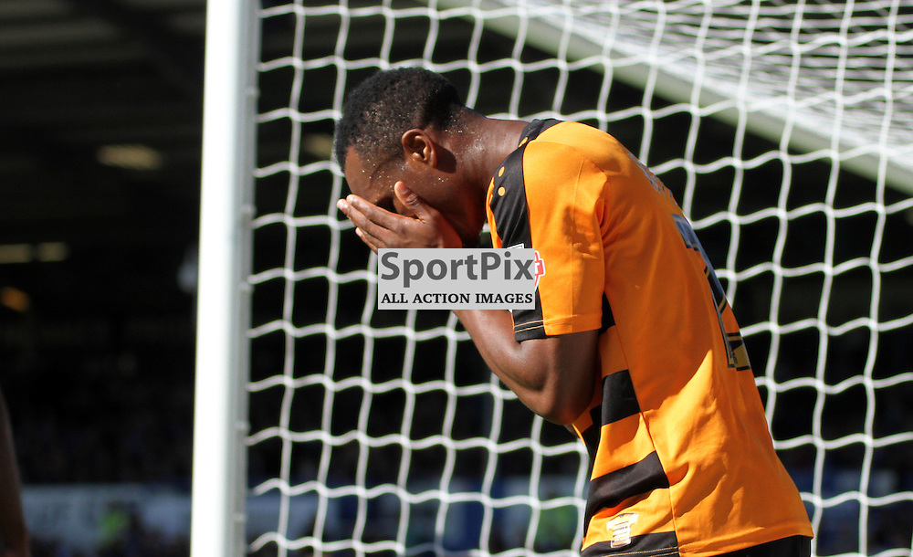 Gavin Hoyte looks dejected after missing a chance During Portsmouth vs Barnet on Saturday 12th September 2015.