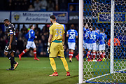 Bury Goalkeeper, Leo Fasan (38) is dejected after Portsmouth Defender, Matt Clarke (5) scores a goal 1-0 during the EFL Sky Bet League 1 match between Portsmouth and Bury at Fratton Park, Portsmouth, England on 16 December 2017. Photo by Adam Rivers.