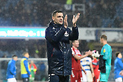 Middlesbrough manager Jonathan Woodgate  applauds the travelling fans at full time during the EFL Sky Bet Championship match between Queens Park Rangers and Middlesbrough at the Kiyan Prince Foundation Stadium, London, England on 9 November 2019.