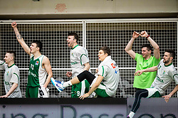 Players of Krka celebrate during basketball match between KK Krka and KK Petrol Olimpija in 22nd Round of ABA League 2018/19, on March 17, 2019, in Arena Leon Stukelj, Novo mesto, Slovenia. Photo by Vid Ponikvar / Sportida