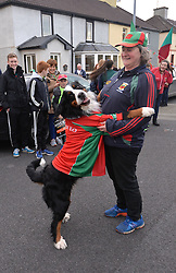 Mayo fan Caroline Cannon with her dog Pippa from Ballina at the team&rsquo;s homecoming in McHale park yesterday.<br /> Pic Conor McKeown