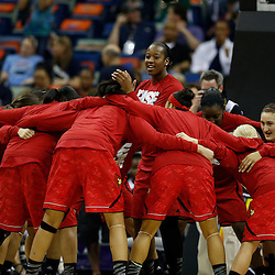 April 7, 2013; New Orleans, LA, USA; Louisville Cardinals huddles before the semifinals during the 2013 NCAA womens Final Four against the California Golden Bears at the New Orleans Arena. Mandatory Credit: Derick E. Hingle-USA TODAY Sports