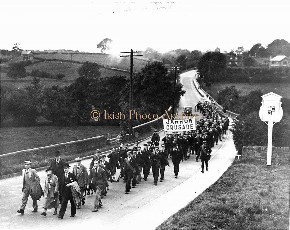 Great Depression 1929-1936. Jarrow March of unemployed miners and shipbuilders from North East England set out on 5 October 1936 to march the 280 miles (451 km) to London to petition Parliament for relief and the creation of jobs.