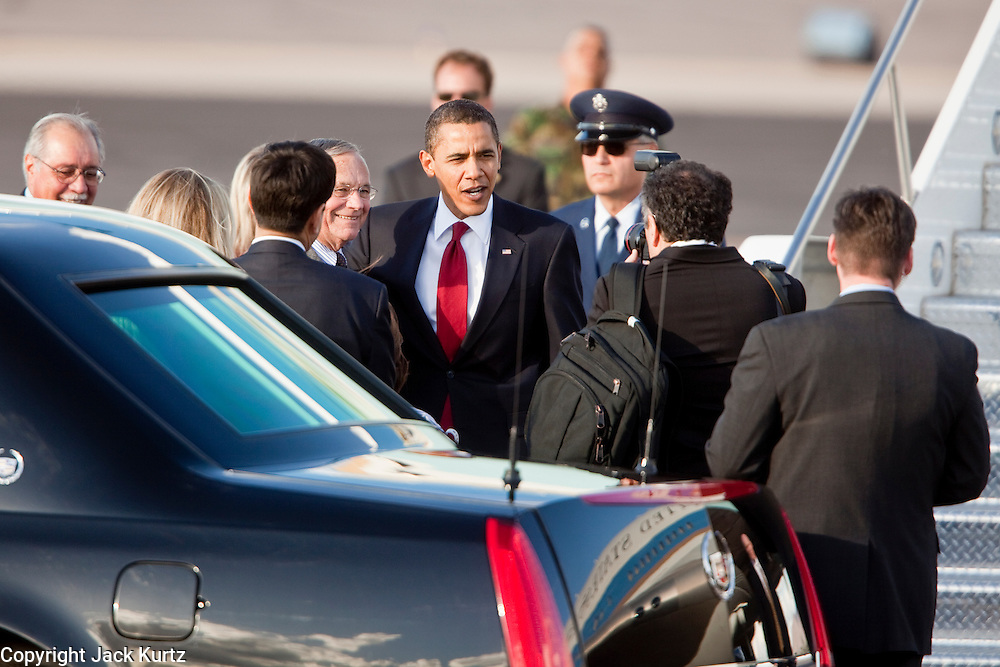 17 FEBRUARY 2009 -- President Barack Obama with Congressman Harry Mitchell during the arrival of President Barack Obama at Sky Harbor Airport Tuesday.    PHOTO BY JACK KURTZ