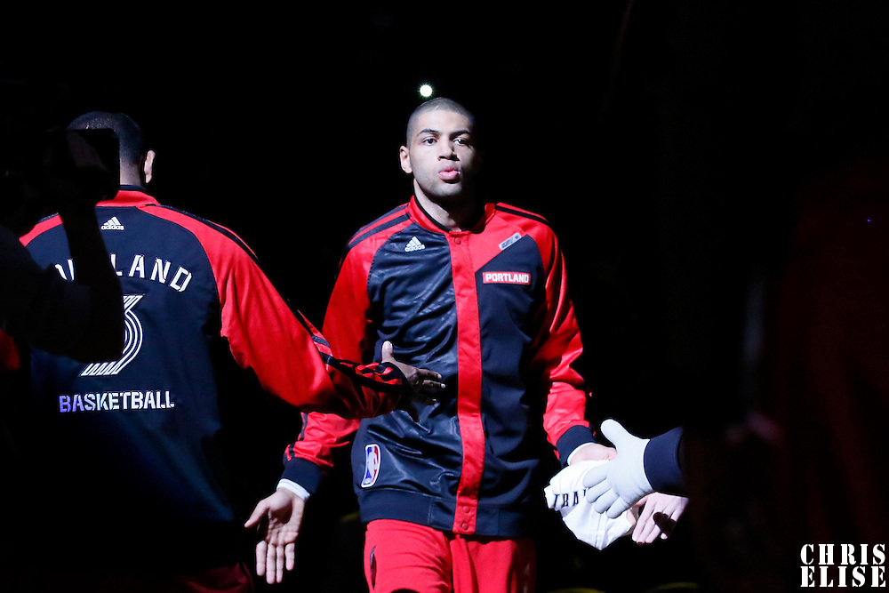 02 December 2013: Portland Trail Blazers small forward Nicolas Batum (88) is seen during the players introduction prior to the Portland Trail Blazers 106-102 victory over the Indiana Pacers at the Moda Center, Portland, Oregon, USA.