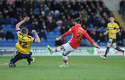 Exeter City's Tom Nichols gets a shot away - Photo mandatory by-line: Neil Brookman/JMP - Mobile: 07966 386802 - 24/01/2015 - SPORT - Football - Oxford - Kassam Stadium - Oxford United v Exeter City - Sky Bet League Two