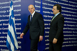 "Jose Manuel Barroso, president of the European Commission, right, greets George Papandreou, Greece's prime minister, ahead of their meeting at the European Union Commission headquarters in Brussels, Belgium, on Wednesday, March 17, 2010. German Chancellor Angela Merkel said the European Union must avoid any ""overly hasty"" aid pledge to Greece. (Photo © Jock Fistick)"