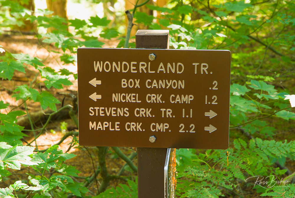 Trail sign on the Wonderland Trail, Mount Rainier National Park, Washington
