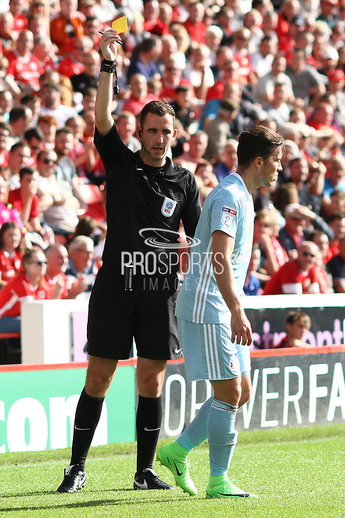 Sunderland defender Bryan Oviedo (3) been booked during the EFL Sky Bet Championship match between Barnsley and Sunderland at Oakwell, Barnsley, England on 26 August 2017. Photo by Justin Parker.