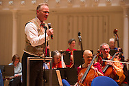 The RTO or Really Terrible Orchestra featuring Alexander McCall Smith at the Glasgow City Hall. 13th October 2012..Picture by Alex Hewitt.alex.,hewitt@gmail.com.07789871540