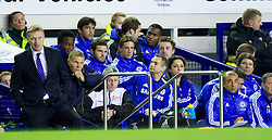 LIVERPOOL, ENGLAND - Wednesday, October 26, 2011: Chelsea's Fernando Torres and Juan Mata at the bench during the Football League Cup 4th Round match against Everton at Goodison Park. (Pic by Vegard Grott/Propaganda)