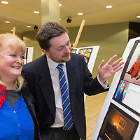Principle from CBS Darragh Glynn and Monica Howard admiring the work done by the students on display in Glor on Thursday evening