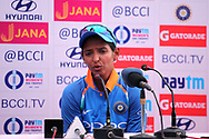 Harmanpreet Kaur of India speaks during the press conference of the first women's one day International ( ODI ) match between India and Australia held at the Reliance Cricket Stadium in Vadodara, India on the 12th March 2018<br /> <br /> Photo by Vipin Pawar / BCCI / SPORTZPICS