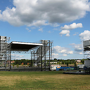 The stage at Bangor Waterfront Pavilion. Bangor, Maine, USA. The stage is the home of the American Folk Festival and hosts other music concerts.  Bangor is the 3rd largest city in the state and the retail, cultural and service center for central, eastern and northern Maine, as well as Atlantic Canada.